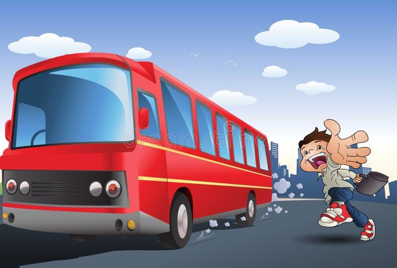 Ejemplo de un muchacho que viaja cogiendo un autobús foto de archivo libre de regalías