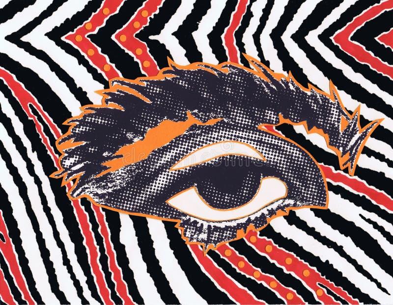 Ejemplo de un ojo en el tono medio en un fondo blanco y negro rojo, aspecto horizontal de las técnicas mixtas libre illustration