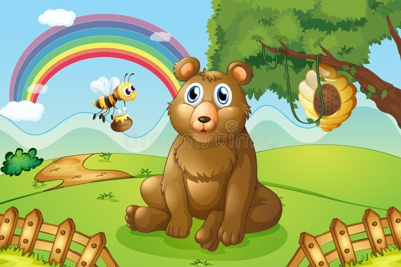 Un oso y una abeja cerca de una colmena stock de ilustración
