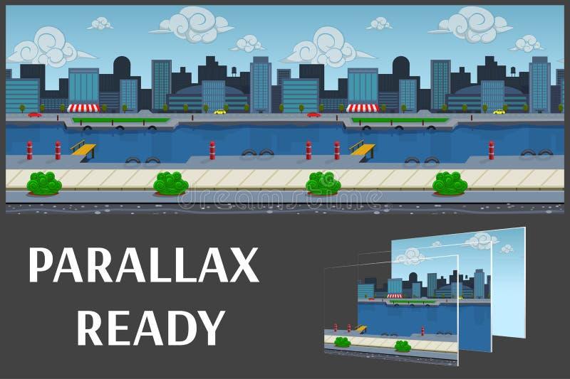 Ejemplo de un paisaje de la ciudad, con los edificios y el río, fondo interminable del vector con capas separadas libre illustration