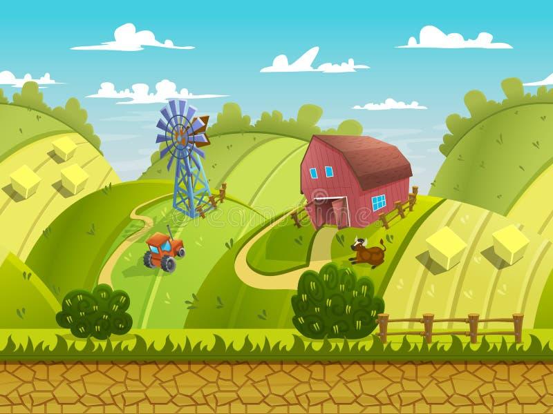 Ejemplo de un paisaje de la naturaleza, con las colinas verdes y los campos, fondo interminable del vector con capas separadas libre illustration