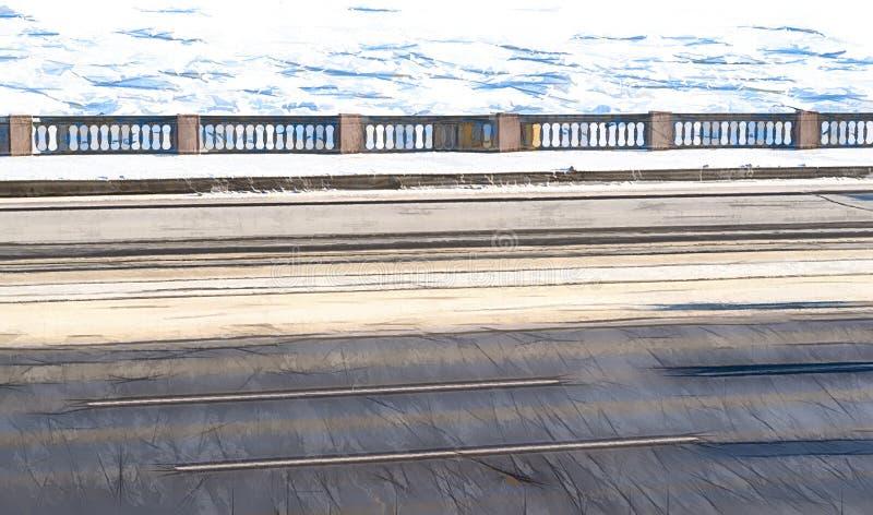 Ejemplo de un paisaje del invierno del terraplén de la ciudad stock de ilustración