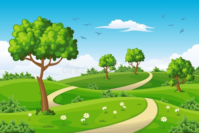 Ejemplo de un paisaje del verano con los árboles ilustración del vector