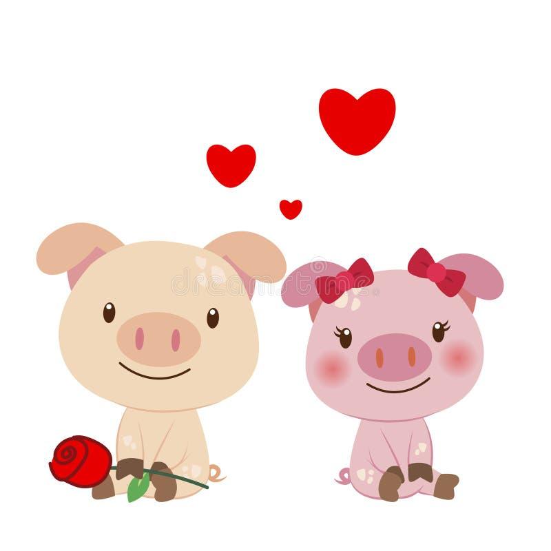 Ejemplo de un par de cerdo ilustración del vector