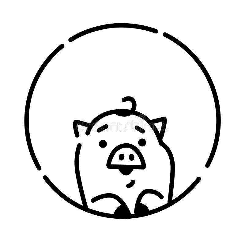 Ejemplo de un pequeño cerdo Vector estilo linear Cerdo en un círculo Logotipo, mascota para la compañía Bebé del cochinillo libre illustration