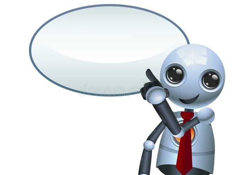 Ejemplo de un pequeño robot feliz que señala el finger ilustración del vector