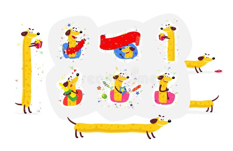 Ejemplo de un perro amarillo Vector Etiquetas engomadas del perro para la bandera, la página web y la impresión Las imágenes se a libre illustration