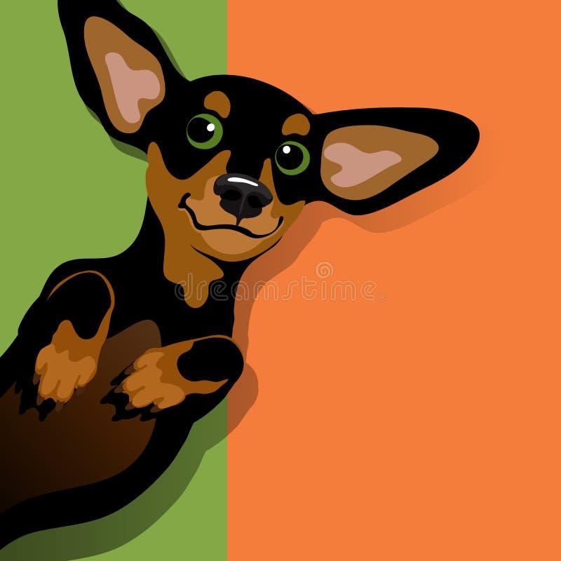 Ejemplo de un perro basset juguetón feliz stock de ilustración