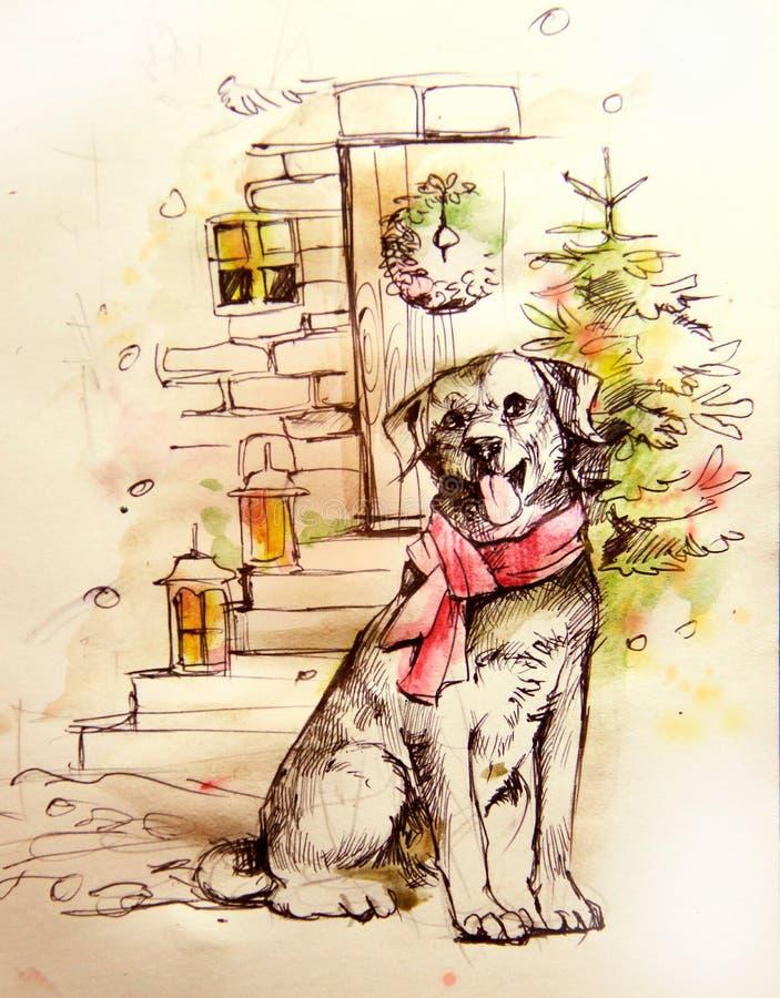 Ejemplo de un perro cerca de un árbol de navidad stock de ilustración