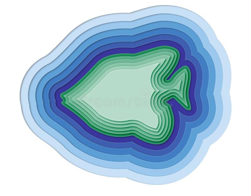 Ejemplo de un pescado acodado en el océano ilustración del vector