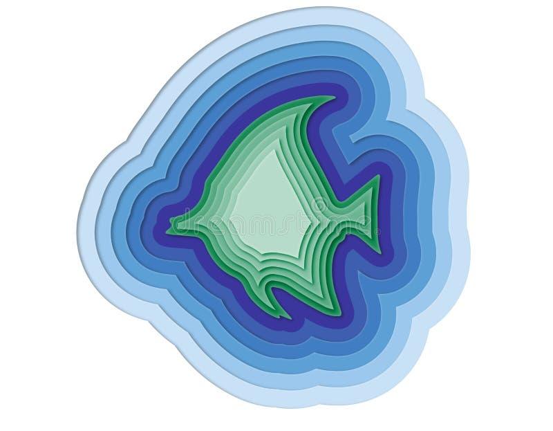 Ejemplo de un pescado acodado en el océano stock de ilustración