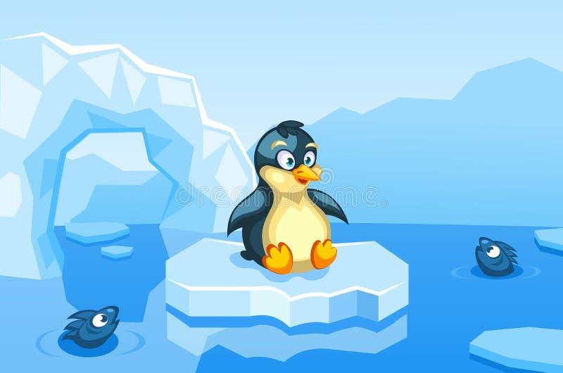 Ejemplo de un pingüino en un fondo ártico del vector con las masas de hielo flotante de hielo, icebergs stock de ilustración