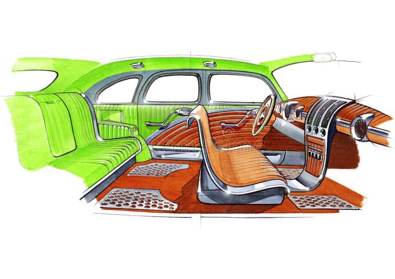 Ejemplo de un proyecto de diseño interior retro del coche libre illustration