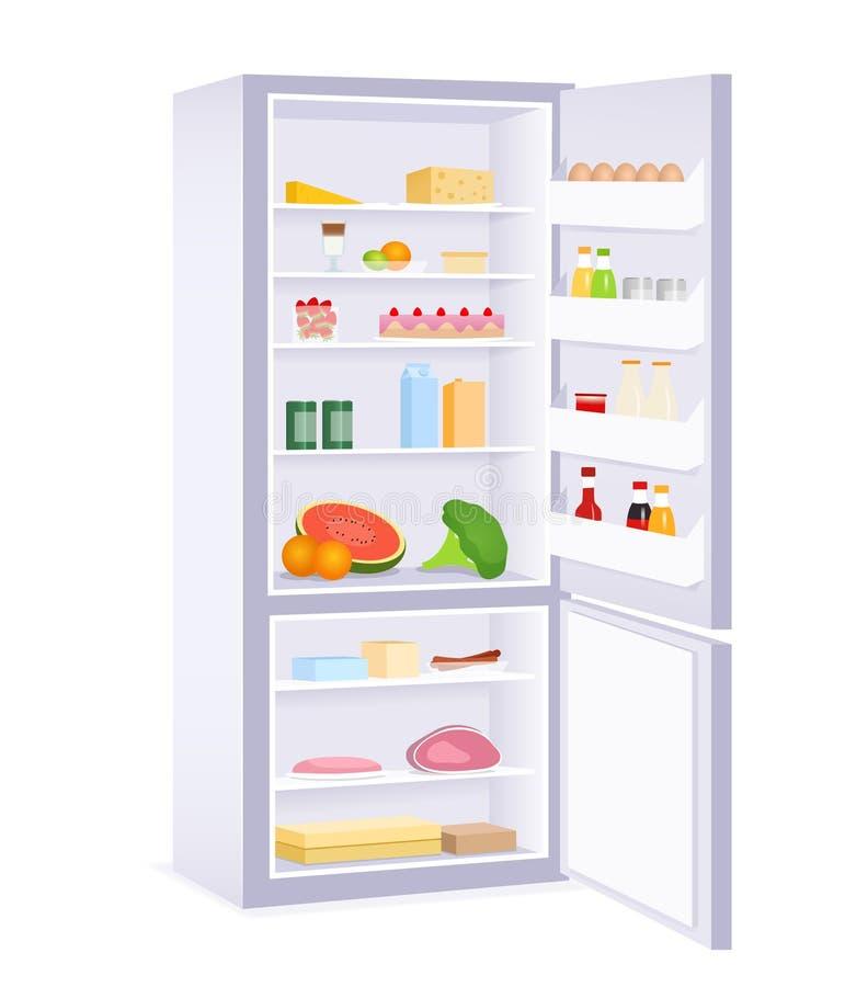 Ejemplo de un refrigerador moderno con la comida libre illustration