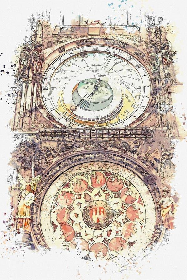 Ejemplo de un reloj astronómico en Praga libre illustration