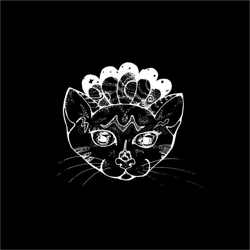 Ejemplo de un retrato de un gato psyhedelic Espacio y animal doméstico cósmicos Tiza en una pizarra ilustración del vector