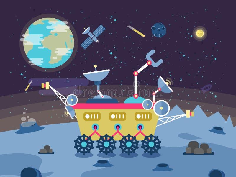 Ejemplo de un vagabundo lunar en la superficie la luna en estilo plano libre illustration
