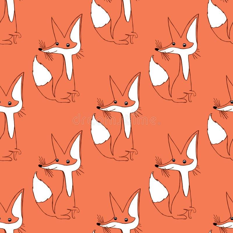 Ejemplo de un zorro Animales lindos Modelo inconsútil ilustración del vector