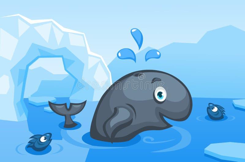 Ejemplo de una ballena en un fondo ártico del vector con las masas de hielo flotante de hielo, icebergs ilustración del vector