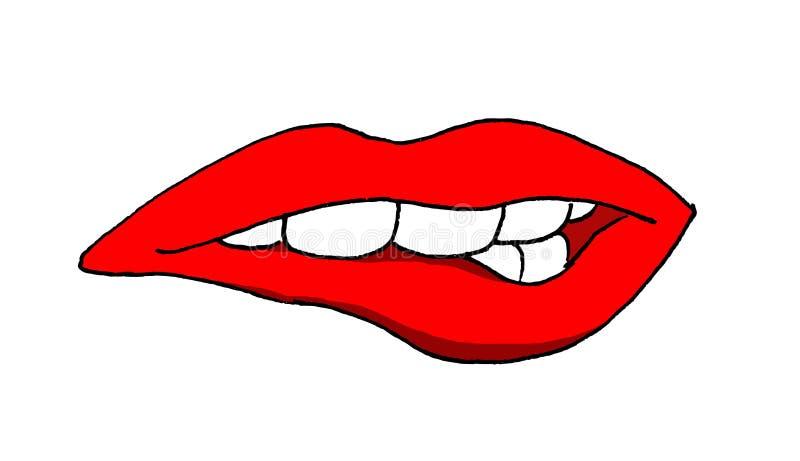 Ejemplo de una boca de la mujer que muerde su labio más bajo libre illustration