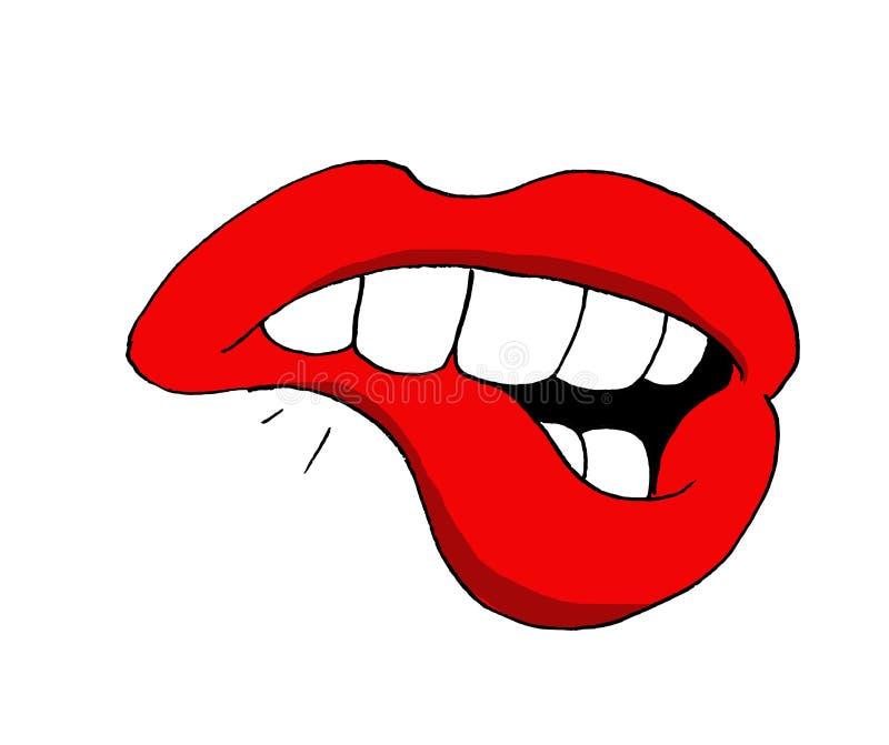 Ejemplo de una boca de la mujer que muerde su labio más bajo stock de ilustración
