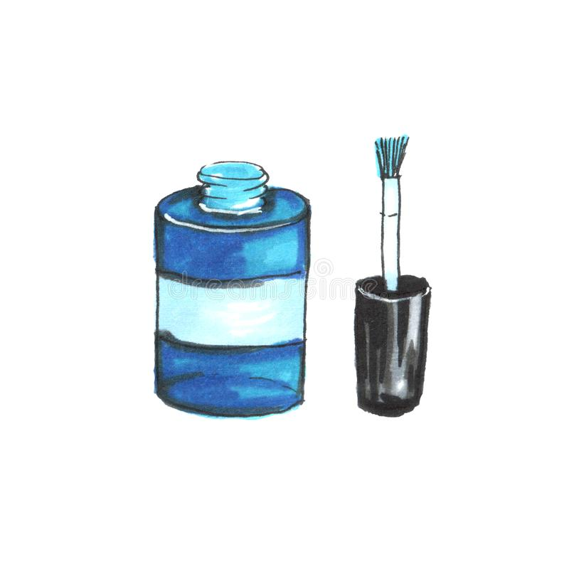 Ejemplo de una botella de esmalte de u?as ilustración del vector