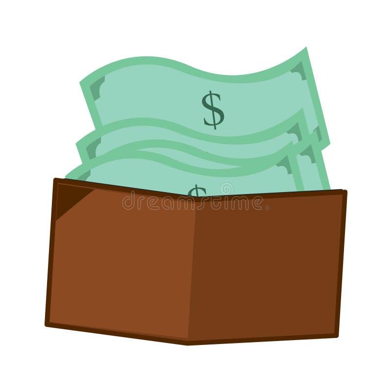 Ejemplo de una cartera por completo de dinero libre illustration