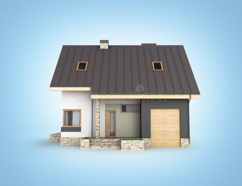 Ejemplo de una casa moderna con una vista lateral del garaje aislada en el fondo azul 3d de la pendiente para rendir ilustración del vector