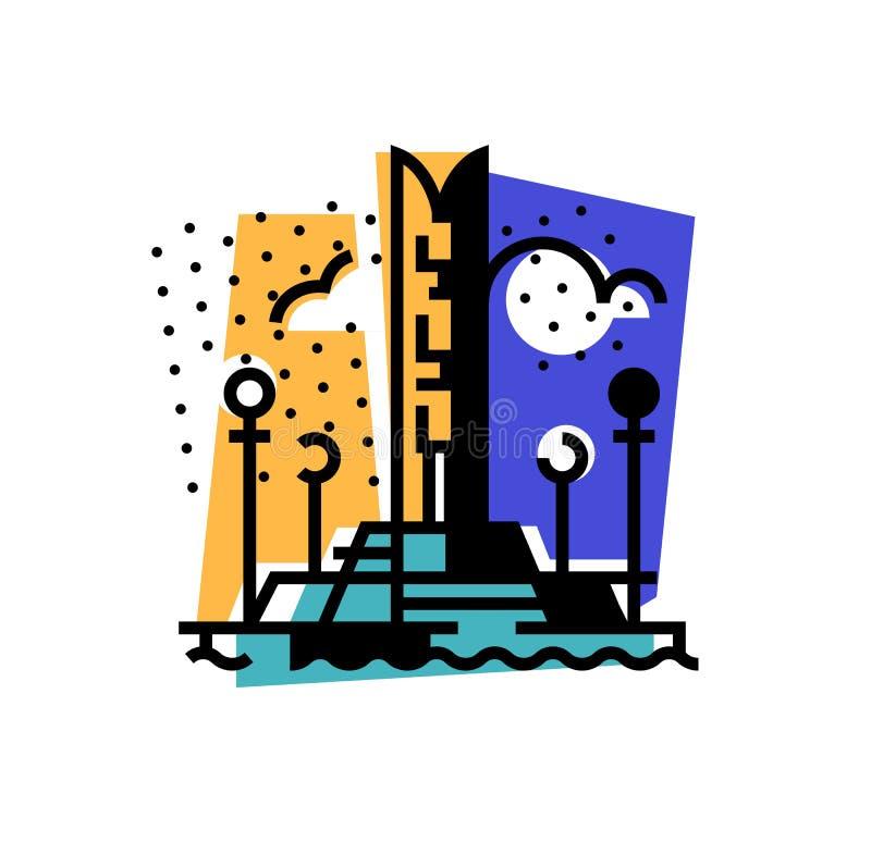 Ejemplo de una ciudad Terraplén de la ciudad de Izhevsk Monumento de la amistad de la gente Un icono abstracto Vector stock de ilustración