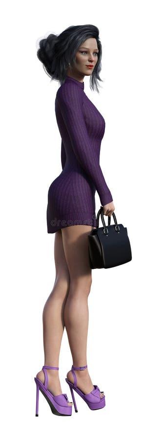 Ejemplo de una empresaria que lleva un vestido púrpura corto y que sostiene un pequeño caso aislado en un fondo blanco stock de ilustración