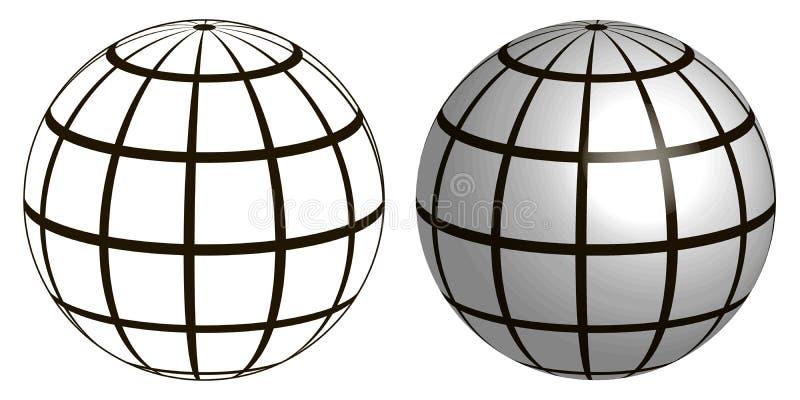 Ejemplo de una esfera del planeta del marco del alambre, globo de la cuadrícula ilustración del vector