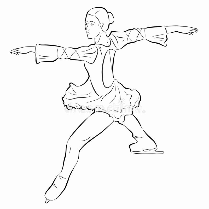 Ejemplo de una figura patinador, drenaje del vector stock de ilustración