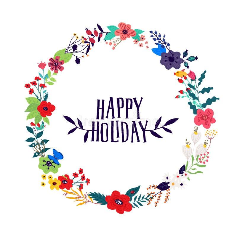 Ejemplo de una guirnalda de flores y de brotes en un fondo blanco Vector Imagen para la bandera, tarjeta de felicitaci?n 8 de mar ilustración del vector