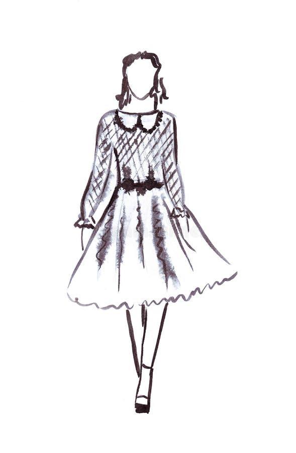 Ejemplo de una hembra en un vestido magnífico y coletas en su cabeza stock de ilustración