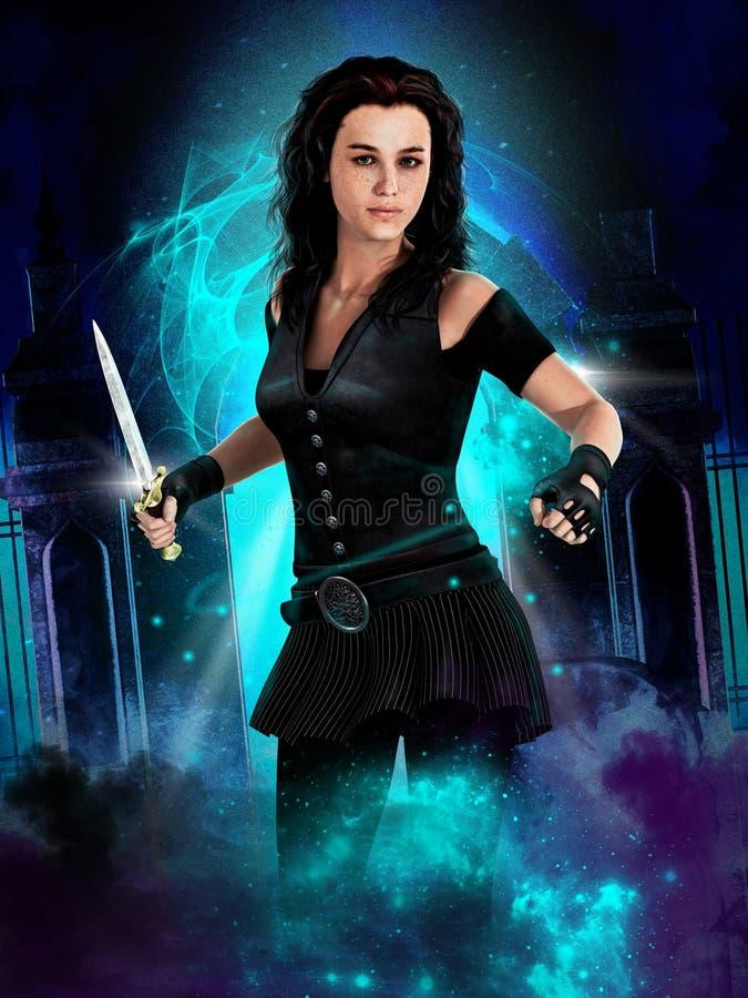 Ejemplo de una hembra urbana del cazador del vampiro del estilo de la fantasía que sostiene una daga stock de ilustración
