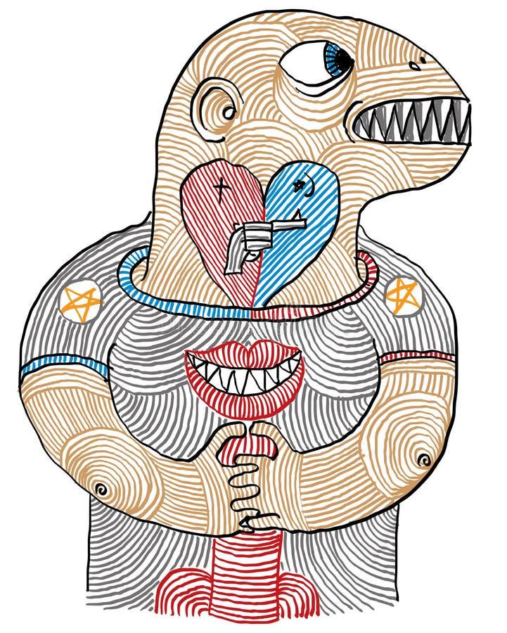 Ejemplo de una mano conceptual del hombre, del amor, del odio y del sexo dibujada stock de ilustración