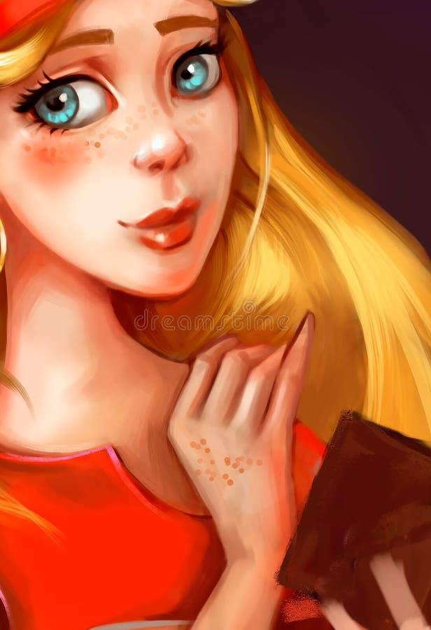 Ejemplo de una muchacha con el pelo de oro ilustración del vector