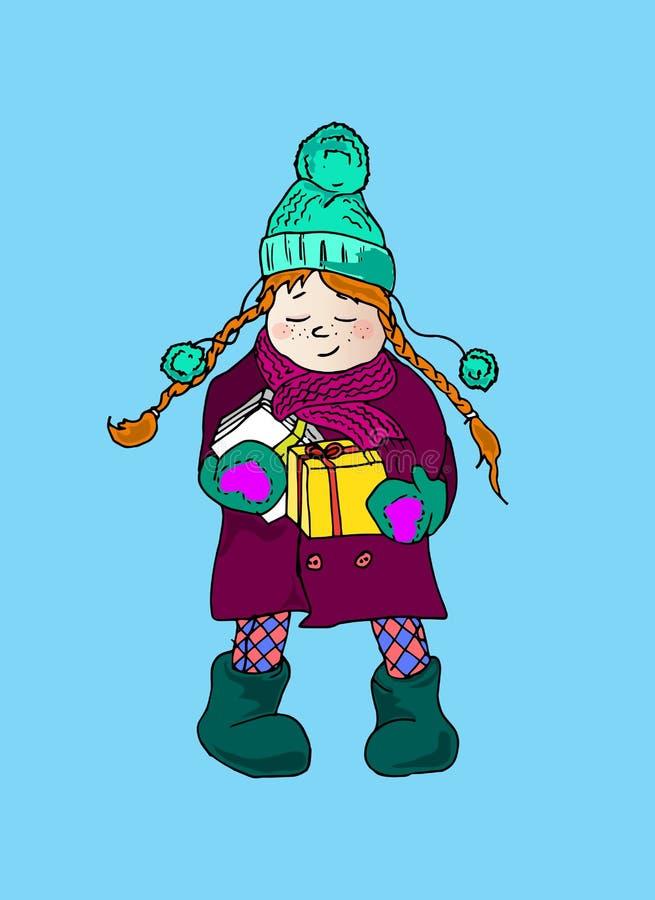 Ejemplo de una muchacha con las coletas Días de fiesta de invierno Un niño con las letras y los regalos ilustración del vector