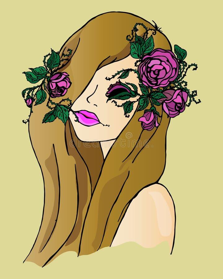 Ejemplo de una muchacha con las flores en su pelo, dibujo de la mano ilustración del vector