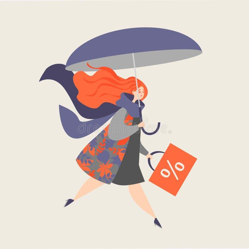 Ejemplo de una muchacha con un paraguas VENTA del otoño stock de ilustración