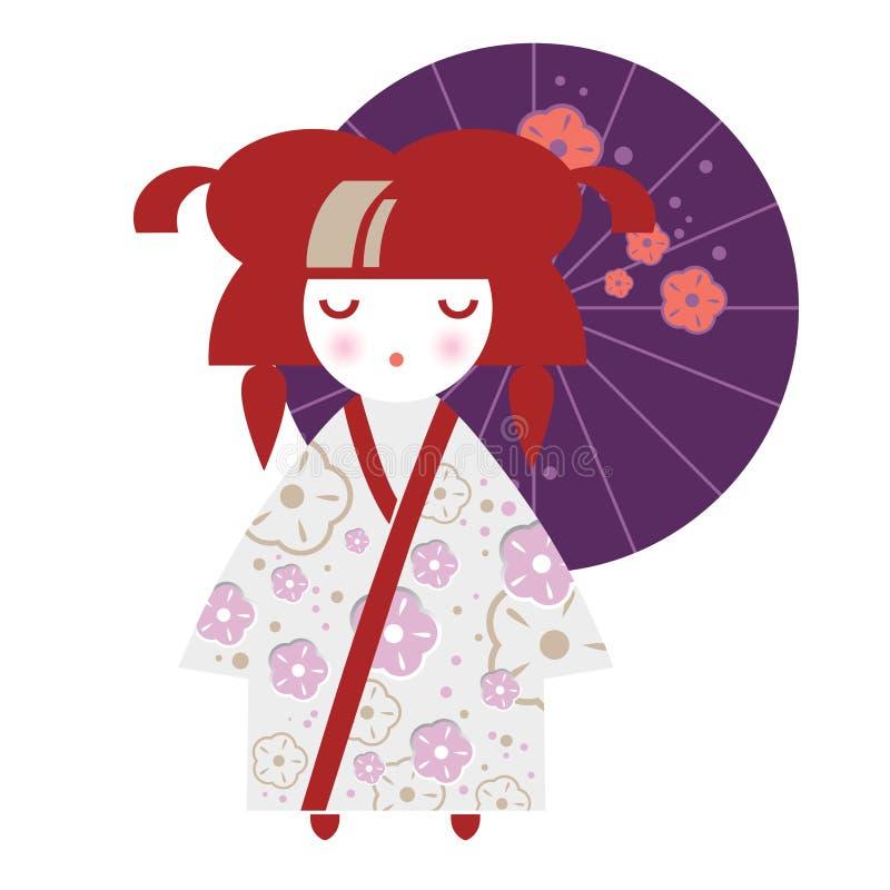 Ejemplo de una muchacha japonesa bajo la forma de muñeca nacional de Kokeshi en un kimono ilustración del vector