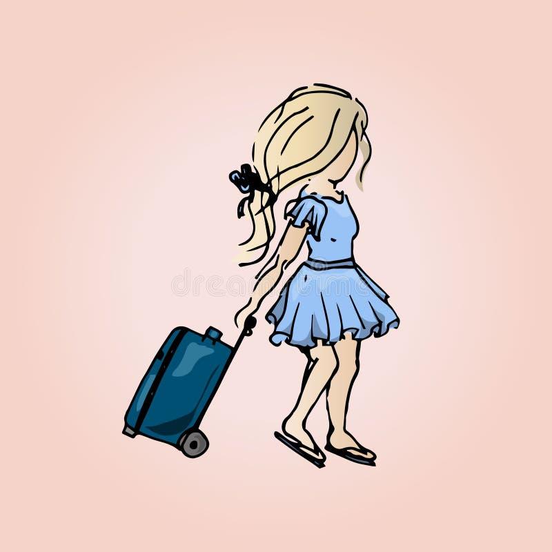 Ejemplo de una muchacha linda con una maleta Muchacha del estudiante el vacaciones libre illustration