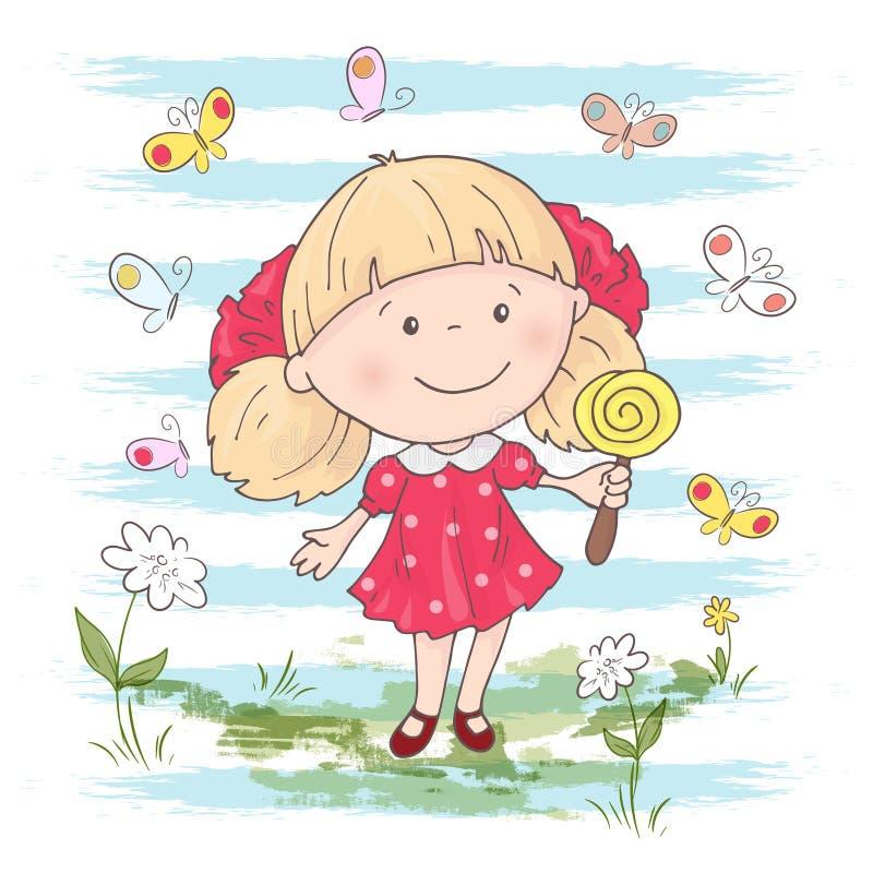 Ejemplo de una muchacha linda de la historieta con un juguete en un fondo azul Vector ilustración del vector