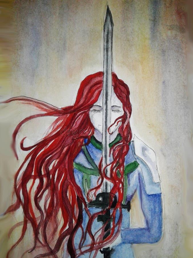 Ejemplo de una muchacha pelirroja de vikingo con una espada ilustración del vector