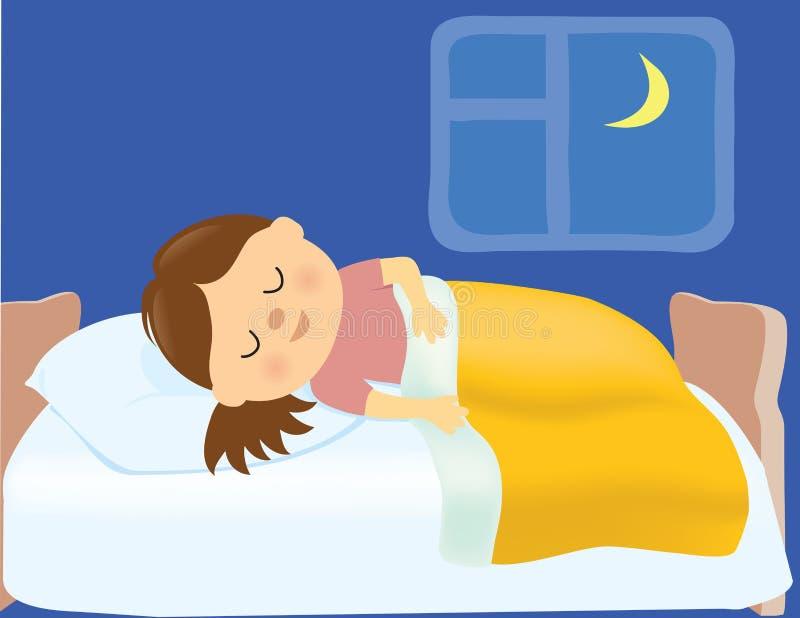 El dormir de la muchacha ilustración del vector