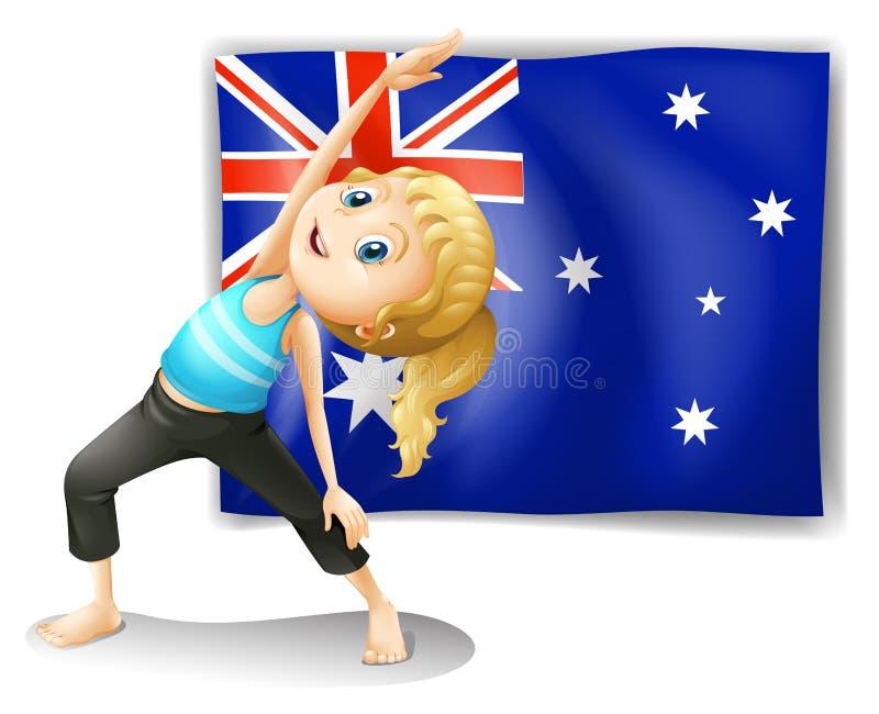 Una muchacha que estira delante de una bandera australiana stock de ilustración