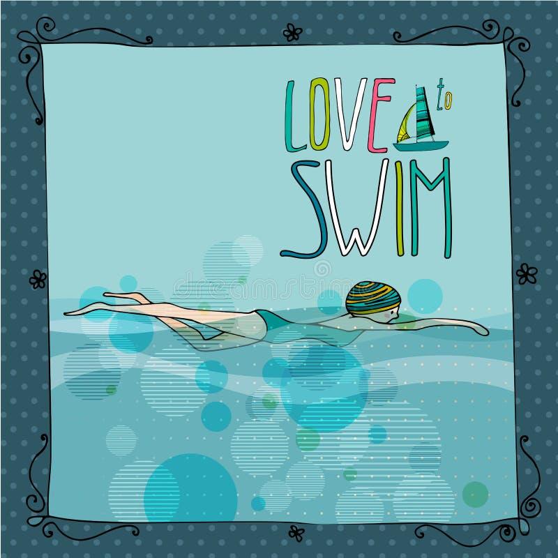 Ejemplo de una natación de la chica joven libre illustration