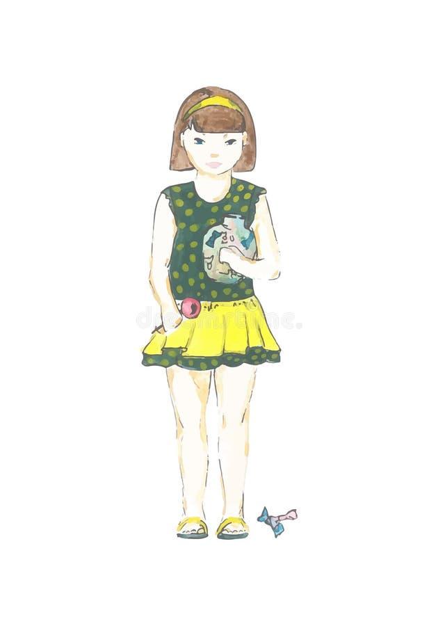 Ejemplo de una niña hermosa con el caramelo stock de ilustración