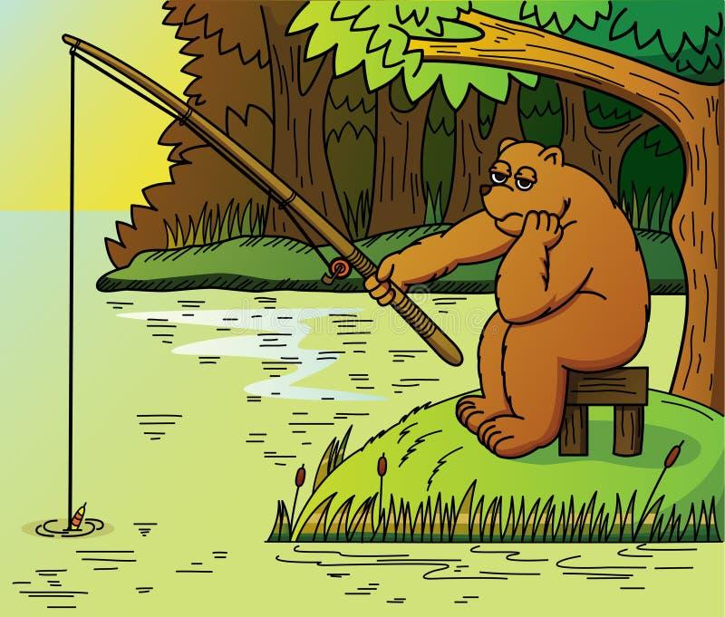 Ejemplo de una pesca del oso en el lago libre illustration