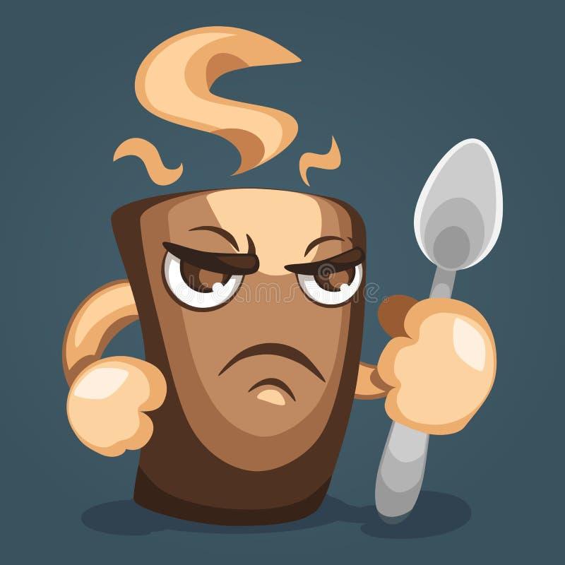 Ejemplo de una taza de café temible con el puño y la cuchara a disposición, vista lateral Diseño de personaje de dibujos animados stock de ilustración